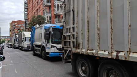 Lorries backed up along Hornsey Street.