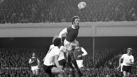 A head above the others was George Graham of Arsenal as he got up to the ball against Burnley. Pictu