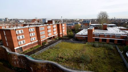 The Holloway Prison site from a neighbouring rooftop. Picture: Polly Hancock