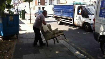 Stephen McCaul caught in the act dumping a chair in Willesden Green for which he fined £2,000