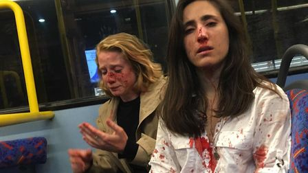 Melania Geymona and her girlfriend after they were both assaulted on the N31 nightbus in Camden in a
