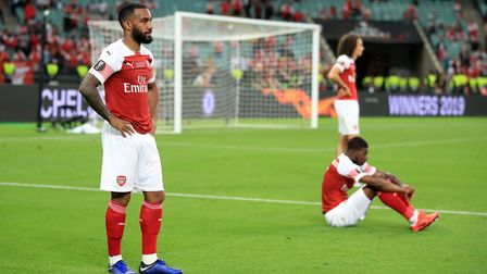 Arsenal's Alexandre Lacazette looks dejected after the UEFA Europa League final at The Olympic Stadi