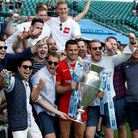 Saracens' Alex Lozowski celebrates with friends after winning the Gallagher Premiership title (pic: