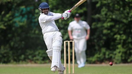 Hasnain Ali in batting action for Highgate against Winchmore Hill (pic: George Phillipou/TGS Photo).