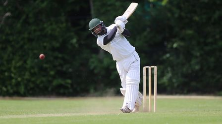 Zahid Ali Khan in batting action for Highgate against Winchmore Hill (pic: George Phillipou/TGS Phot
