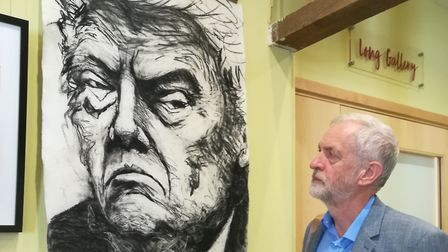 Jeremy Corbyn stares down Donald Trump. Picture: Alison Meek