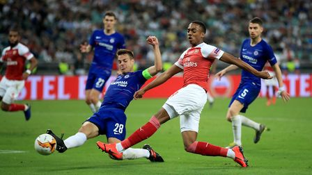 Arsenal's Joe Willock takes a shot on goal during the UEFA Europa League final at The Olympic Stadiu