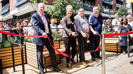 Islington's first parklet, in Central Street, is launched with residents and (L-R) Austin Casey of O