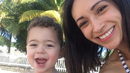 Christel was stabbed while pushing her son , 3, in his buggy. Picture: Supplied