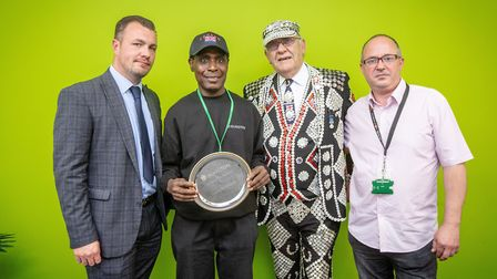Caretaker of the Year 2019. From left: Head of Neighbourhood Services; Caretaker of the Year Francis