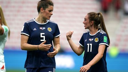 Scotland's Jenny Beattie (left) and Lisa Evans (right) after the final whistle during the FIFA Women