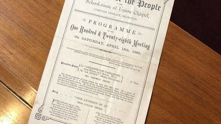 Stell found a programme from an 1885 event at Union Chapel in the archive.