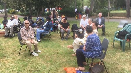 Dementia sufferers and carers enjoying a picnic in Barham Park. PIcture: Paul Lorber