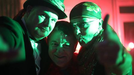Trevor West, Martin Brooks and Nigel Hart of the Glam Rock tribute band the Pouk Hill Prophetz