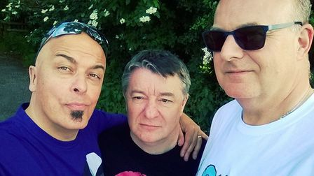 Nigel Hart, Trevor West and Martin Brooks of Glam Rock tribute band the Pouk Hill Prophetz