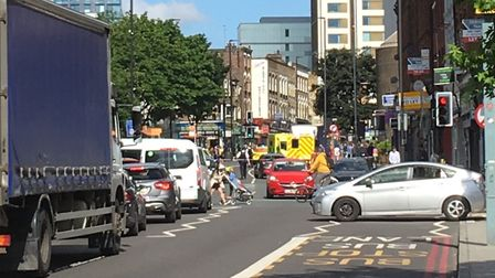The scene in Holloway Road. Picture: @McWoodchuck