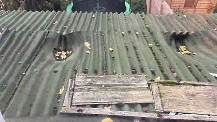 Leaking corrugated roof on top of rogue landlord's Cricklewood property. Picture: Brent Council