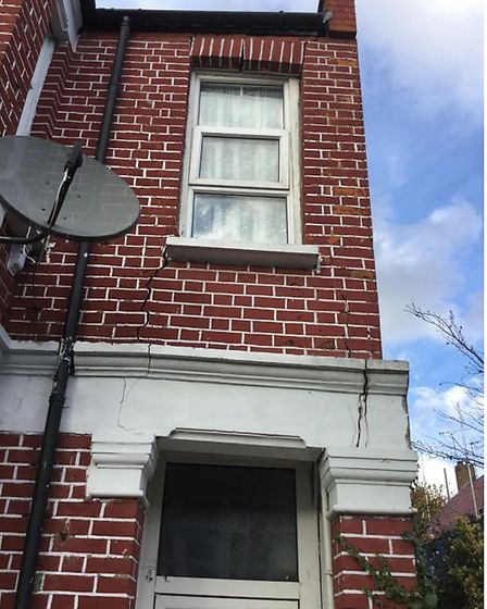 Subsidence to the front right of a rented out house in Cricklewoodl. Picture: Brent Council