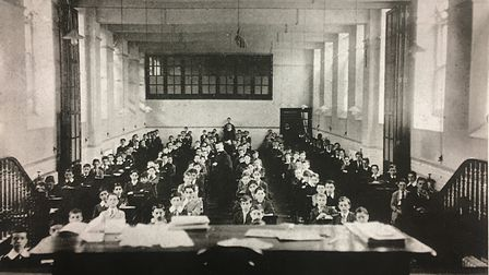 Students sitting exams at the school.
