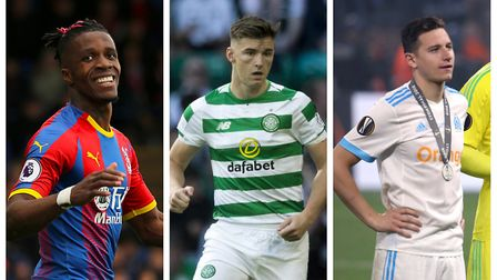 Wilfried Zaha (left), Kieran Tierney (centre) and Florian Thauvin. Picture: PA