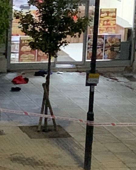 Police cordon off the area where a man in his 30s was fatally shot. Picture: Bhavesh Halai