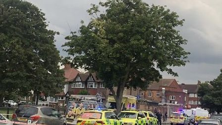 Police at the scene of the Wembley murder, the second of the weekend. Picture: @999London