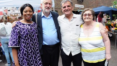 Cllr Michelline Ngongo, Islington North MP and Labour leader Jeremy Corbyn, Cllr Dave Poyser and Cll