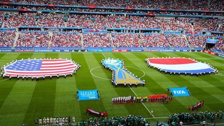 Teams line up on the pitch ahead of the FIFA Women's World Cup 2019 Final at the Stade de Lyon, Lyon