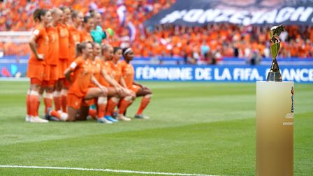 Netherlands team line up prior to kick-off during the FIFA Women's World Cup 2019 Final at the Stade