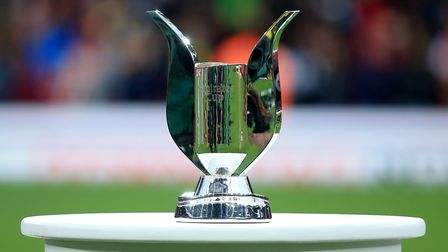 Detail of the Emirates Cup trophy on a plinth before the game. Picture: John Walton/PA