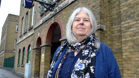 Dr Liz Davies outside Islington Police Station in 2017. Picture: Polly Hancock