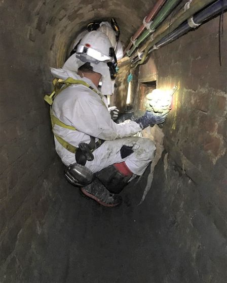 Thames Water workers removing the concreteberg. Picture: Thames Water