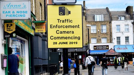 Traffic enforcement camera sign Baron St N1. Picture: Polly Hancock