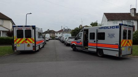 Carrier vans took riot police on three dawn raids. Picture: David Nathan