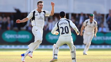 Middlsex's bowler Toby Roland-Jones celebrates taking the final wicket of Yorkshire's Ryan Sidebotto