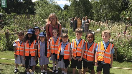 Convent of Jesus & Mary Infant School pupils with Michaela Strachan at the RHS Hampton Court Flower