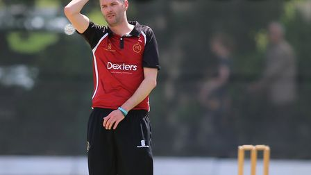 Captain Joel Hughes reacts while bowling for North Middlesex (pic: George Phillipou/TGS Photo).