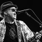 Neil Young performs as part of a historic double bill with Bob Dylan at Hyde Park on July 12, 2019 i