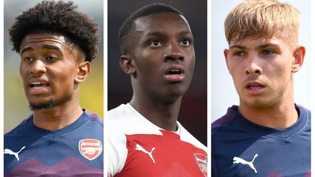 Arsenal's Reiss Nelson (left), Eddie Nketiah (centre) and Emile Smith Rowe. Picture: PA