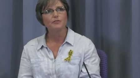 Christine Norval speaks at the Infected Blood Inquiry. Picture: Infected Blood Inquiry