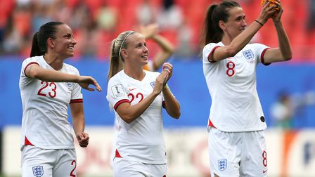 England's Lucy Staniforth (left), Beth Mead and Jill Scott celebrate after the final whistle during