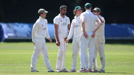 Omkar Hushing of North London takes a wicket and celebrates during North London CC vs Southgate CC.