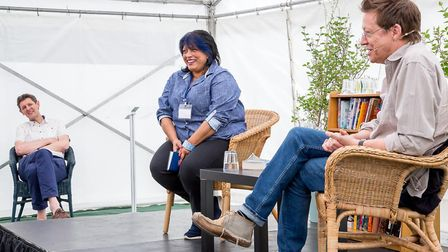 Willesden Green's writer broadcaster Shyama Perera with radio dj and author Simon Mayo. Picture: Cat
