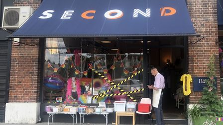The smashed window display at Second Chance in St John's Way, Archway. Picture: Ali Mitib