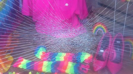The smashed window at Second Chance in Archway. Picture: Crispin Dawes