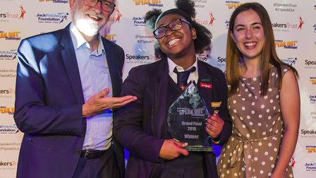 Labour leader Jeremy Corbyn with Kenton's Princilla Agyemang, Jack Petchey Speak Out winner 2019 and