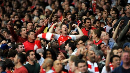 Arsenal fans in the stands at the Emirates during the north London derby. Picture: PA