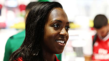Arsenal Women's Danielle Carter at the Arsenal kit launch at The Armoury, Emirates Stadium, London.