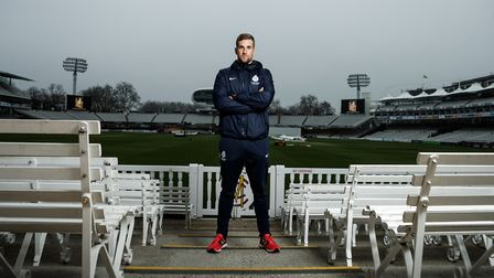 Middlesex's Dawid Malan poses for a photograph following the media day at Lord's Cricket Ground, Lon