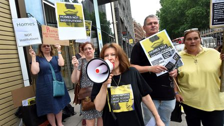 Leo Andrade and supporters protest outside the Department of Health and Social Care. Picture: Polly